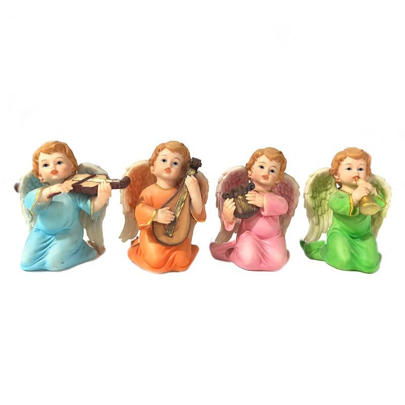 4 piece set with wings and music resin angel statue for home decoration