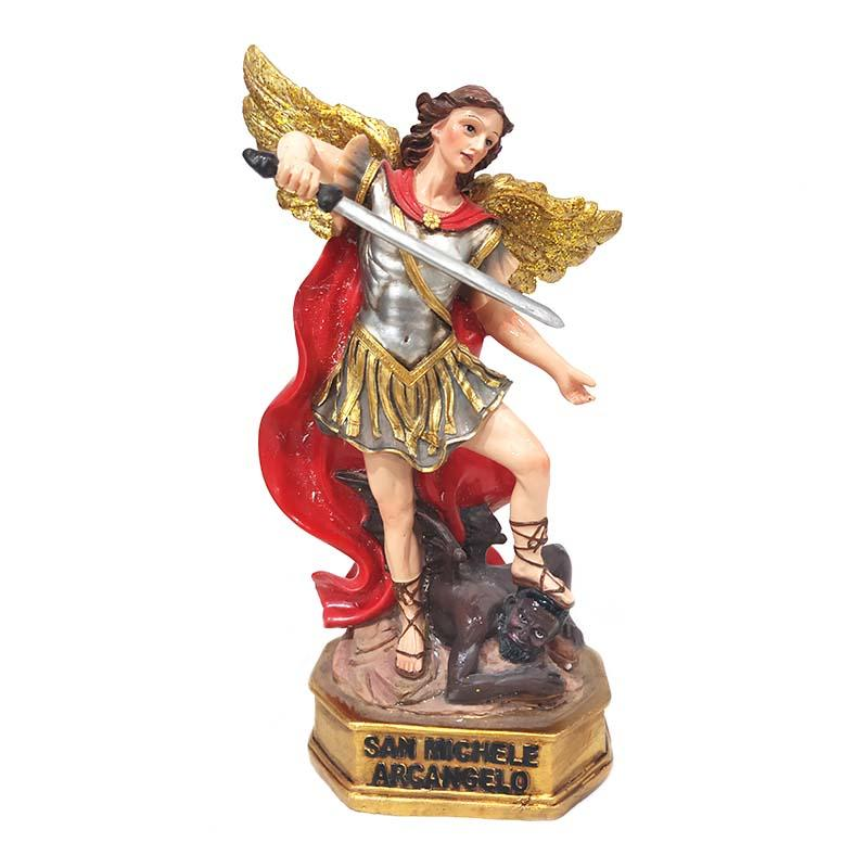 Home decoration custom resin foot step on the devil with a sword Archangel Michele polyresin figurine
