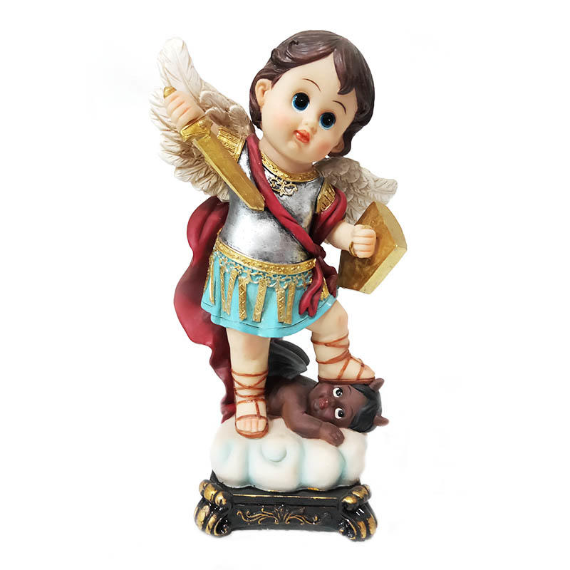 religious items hand made resin crafts custom cartoon archangel miguel statue