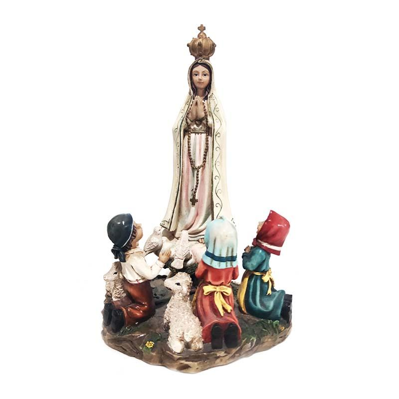 holiday decoration custom hand made religious figurine resin fatima con pastores