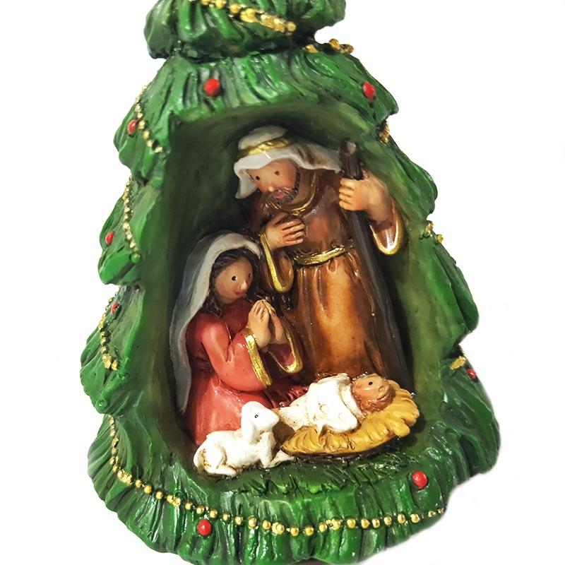 Christmas tree shape Christmas ornament polyresin holy family figurine decorative figurines