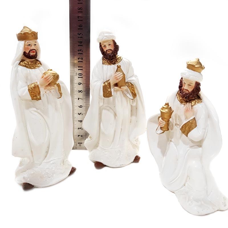 Christmas decoration custom polyreisn religious figurine white nativity set