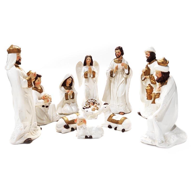 Christmas decoration custom polyreisn religious figurine white nativity set