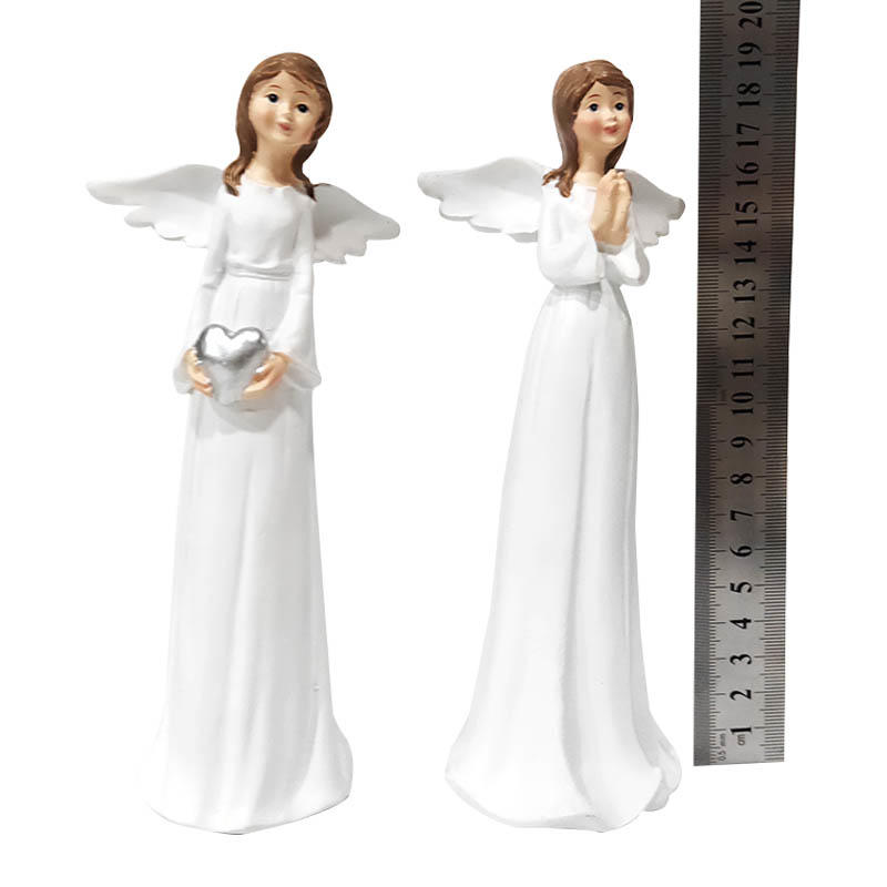 Christmas decoration custom polyresin white angel statue with wing