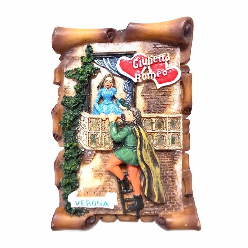 Custom 3D Design Souvenir Polyresin Fridge Magnet Romeo and Julieta