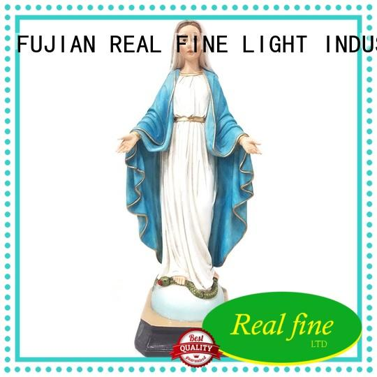 Our Lady of Grace Blue White 12 inch Resin Stoneware Tabletop Figurine Statue