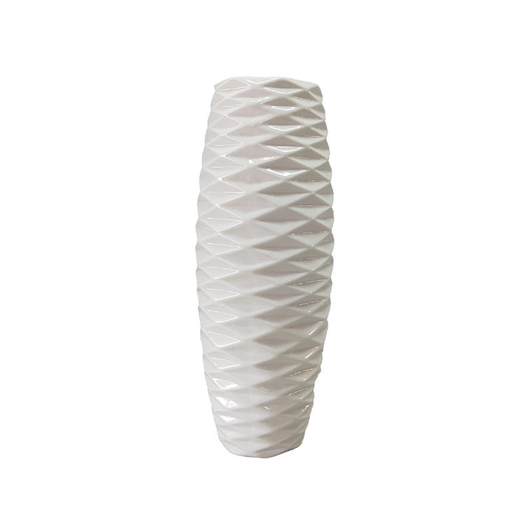 home decoration white stripe ceramic flower vase for sale