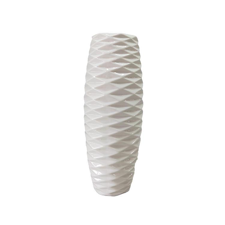 home decoration white stripe ceramic flower vase for sale