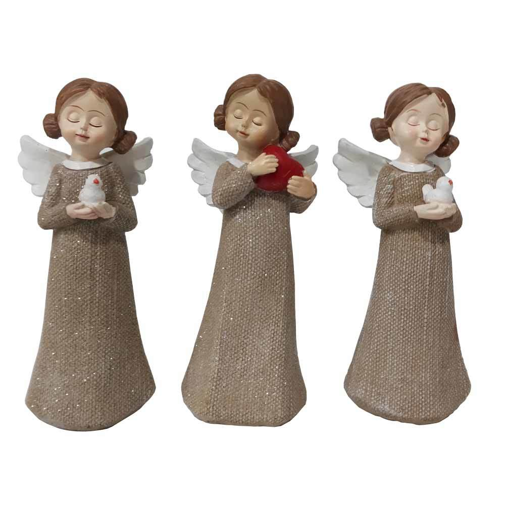 custom hand made Christmas home decoration brown sleep carry pigeon polyresin small angel figurine statue with wings
