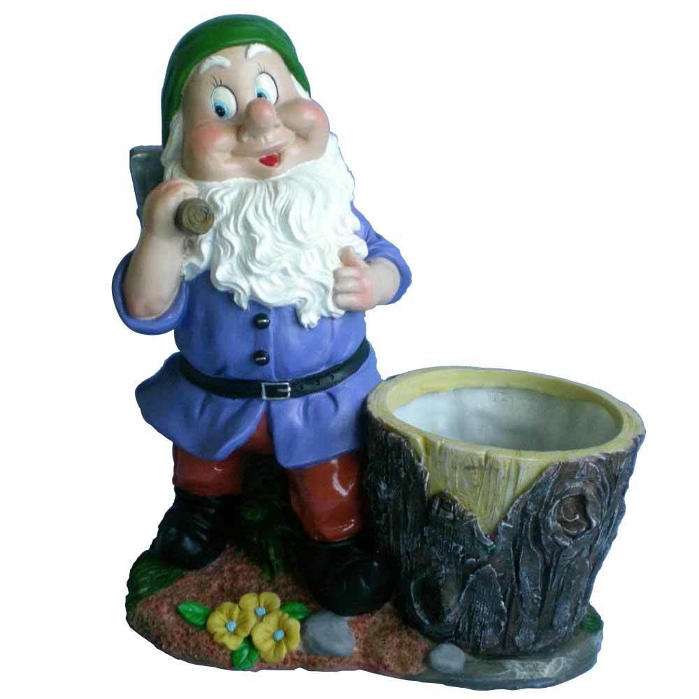 custom lovely resin gnome statue garden flower port