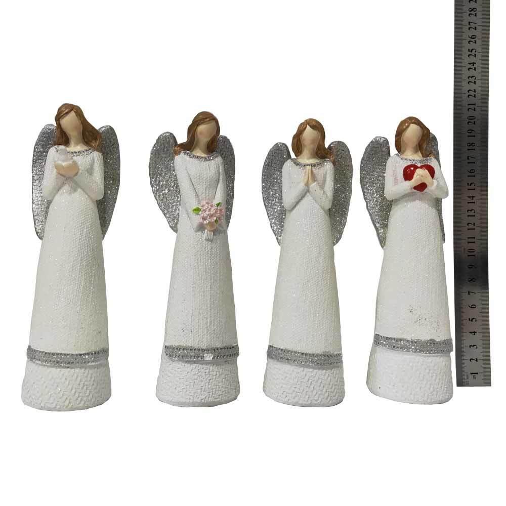 Festive decoration birthday gift white polyresin praying angel figurine