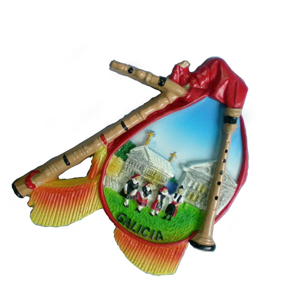 Wholesale cheap Galicia folk souvenirs custom 3d polyresin fridge magnet for gift