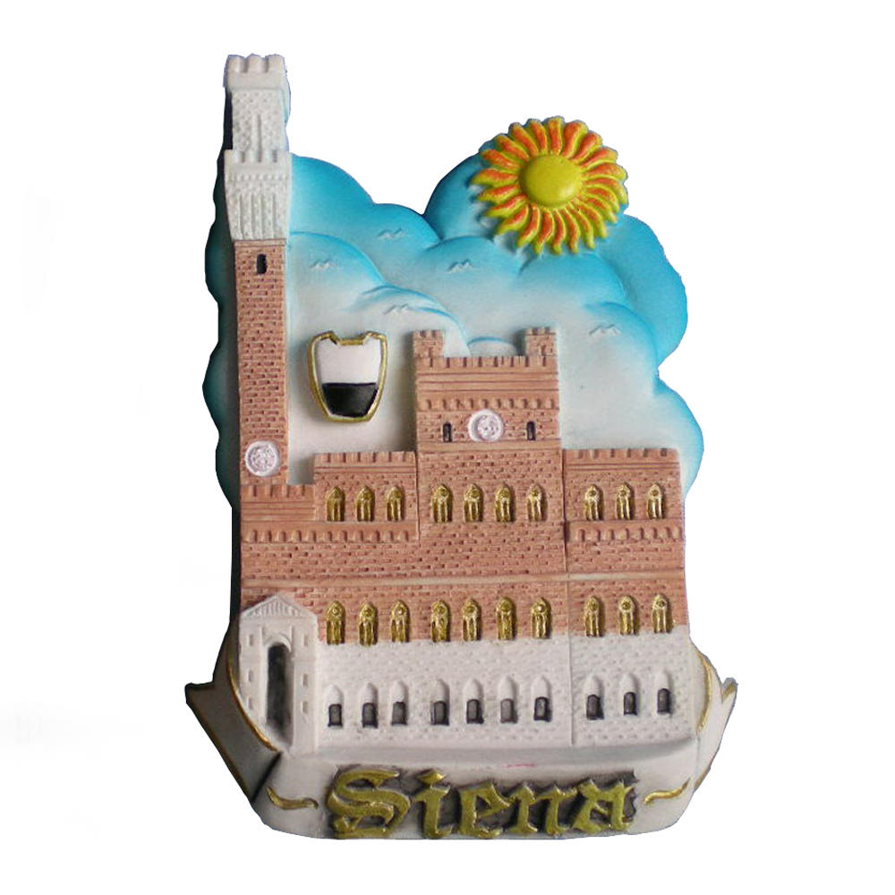 Wholesale souvenir Italy Siena castle polyresin fridge magnet for home decoration