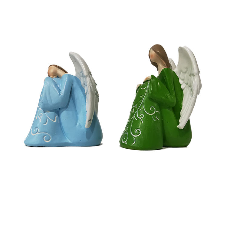 Wholesale cheap green and light blue sitting polyresin figurines