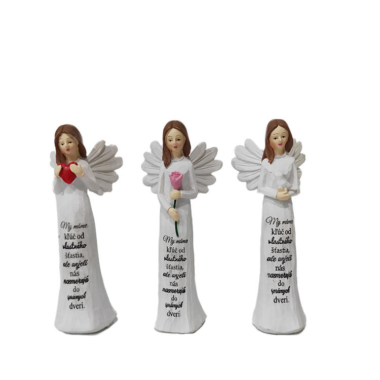 Home decor hand painted white polyresin pray angel figurines resin craft
