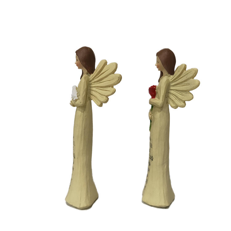 Happiness hand painted custom polyresin gifts elegant christmas angel figurine ornaments