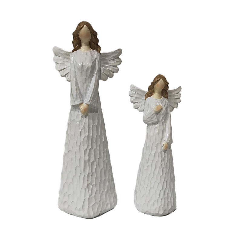Wholesale home deco craft standing polyresin resin wing white angel figurine
