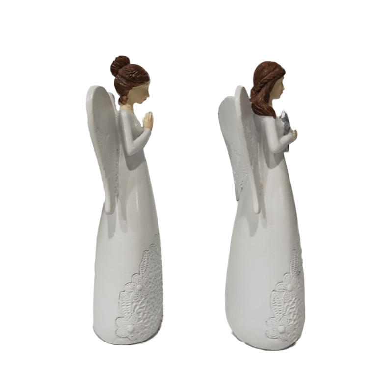 polyresin holiday gifts hand made girl praying white souvenir angel figurine