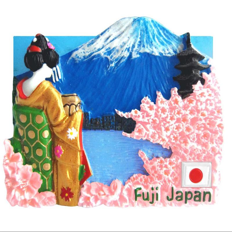 Japanese Landscape Design Resin 3D Fridge Magnet (Mt.Fuji, Geisha in Golden Kimono)