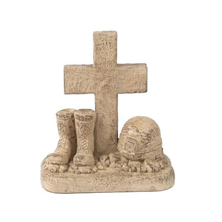 Religious cross helmet and boots cross souvenir figurine resin