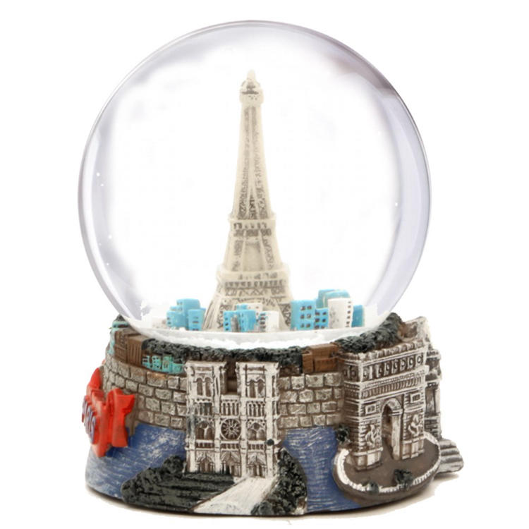 Custom Paris eiffel tower resin snow globe drome