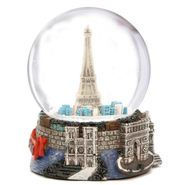 Custom Paris eiffel tower resin snow globe drome