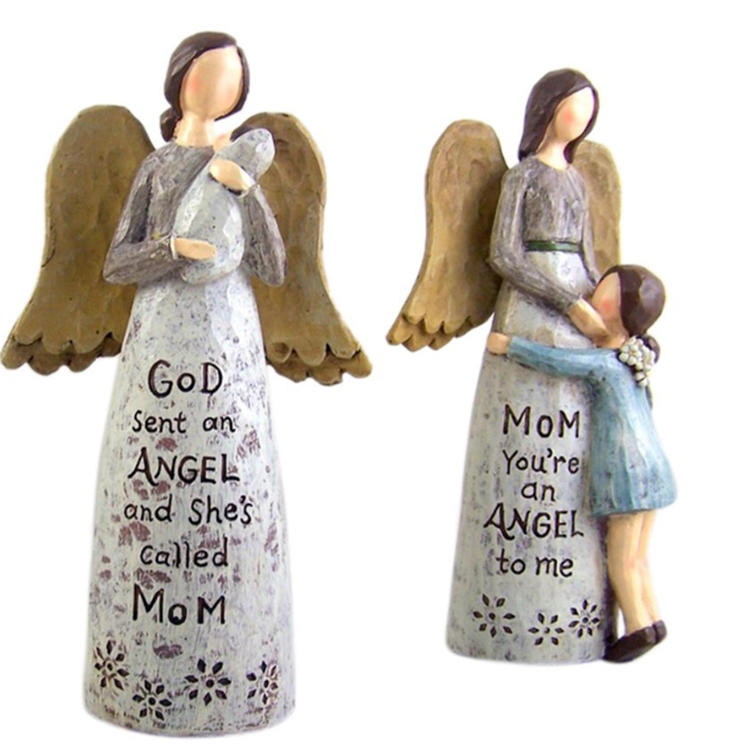 Standing Angel statue mom and kid resin  figurine  ornament