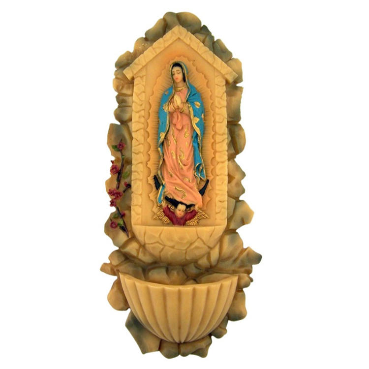 Our lady of guadalupe statue resin holy water font