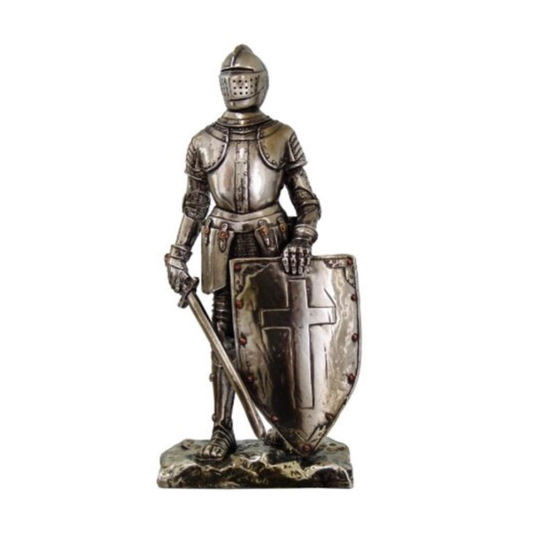 Crusader knight statue custom figurine resin for home decoration