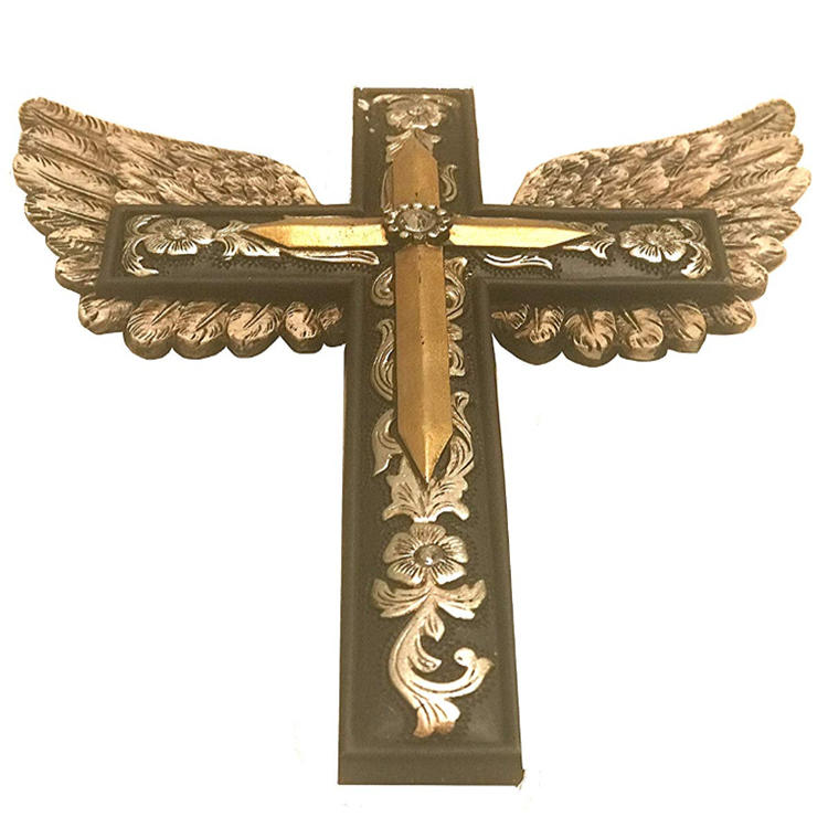 Resin wing cross wall decor home decoration cross