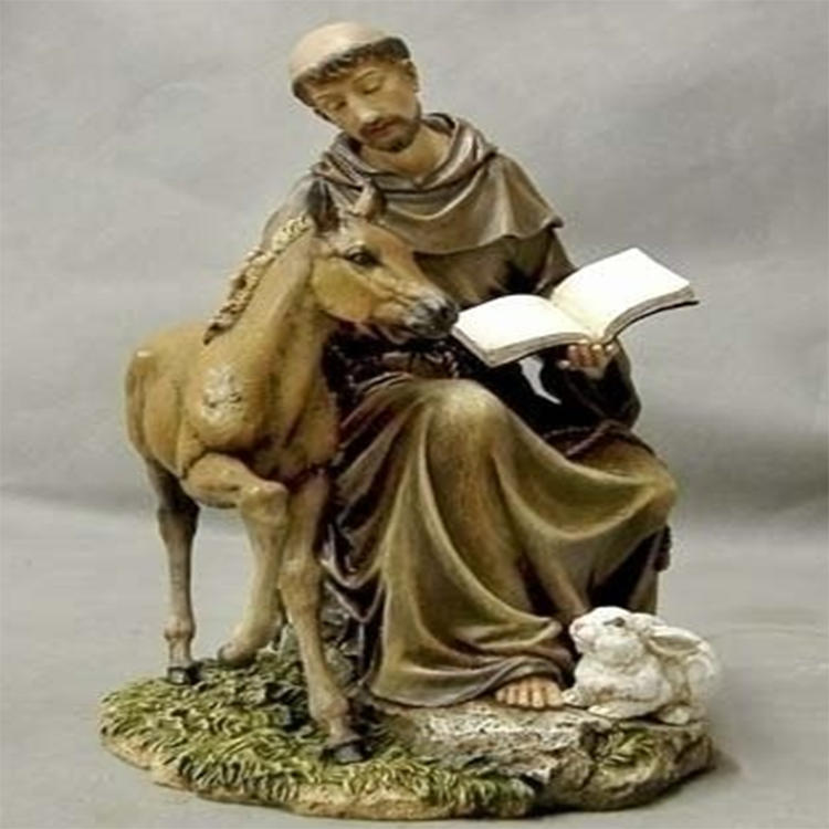 Resin seated St Francis statue  garden decor figurine