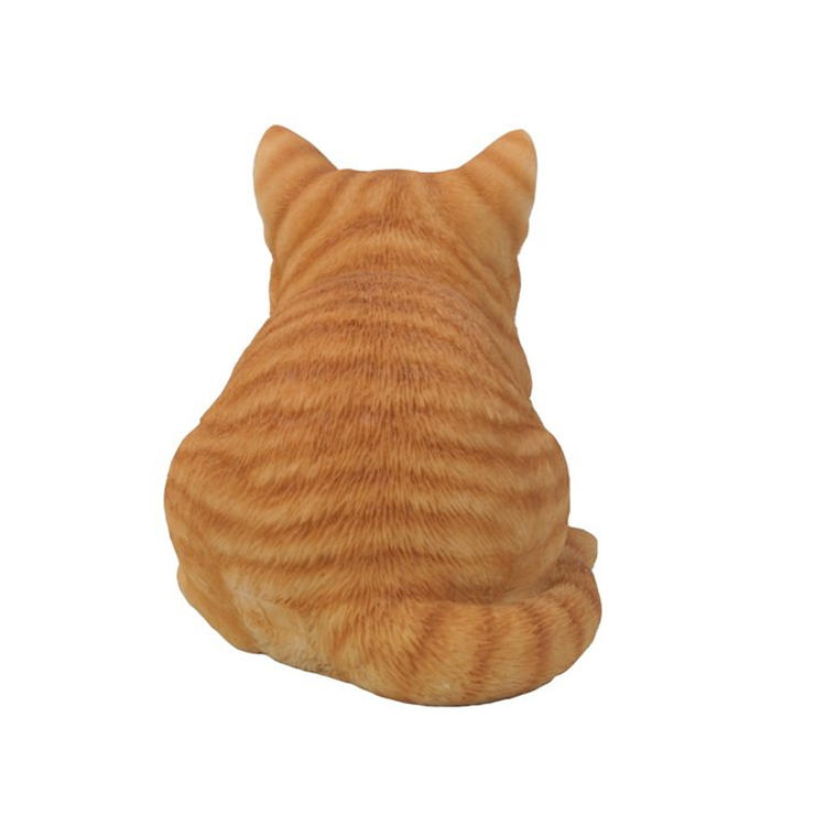 Outdoor cat garden decor sleeping orange cat statue  figurine