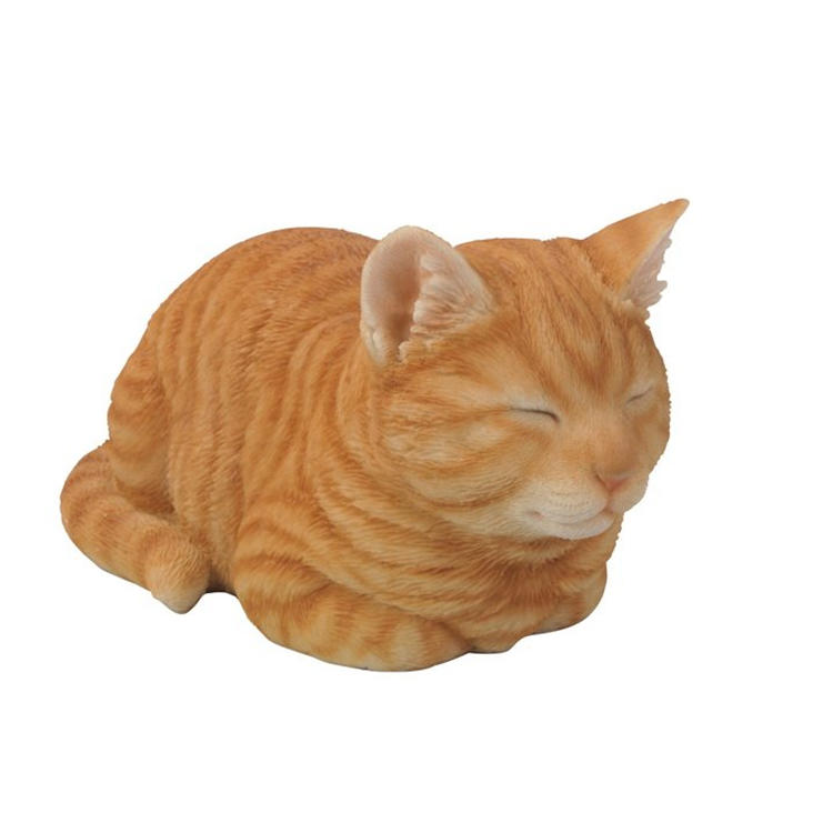 Outdoor cat garden decor sleeping orange cat statue  figurine