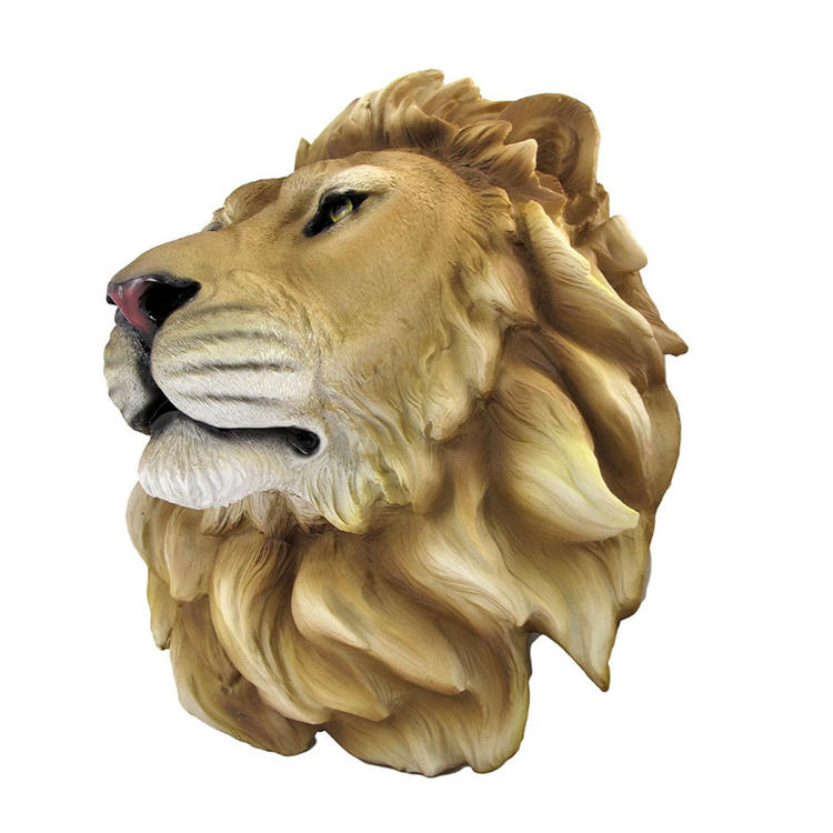 Lion head statue decorative wall figurine resin animal head