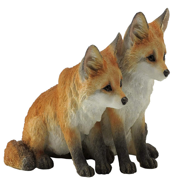 Custom flocked animal figurine  fox figurine ornament statue