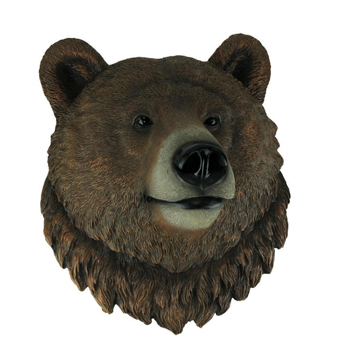 Figurine Grizzly wall bear head statue resin craft