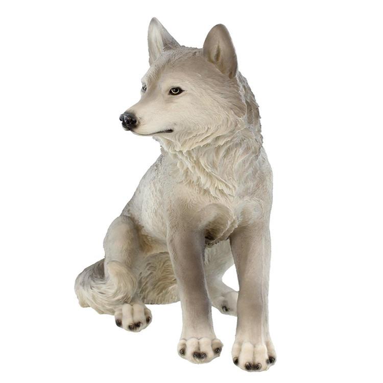 Wolf figurine polyresin  sitting wolf statue resin craft