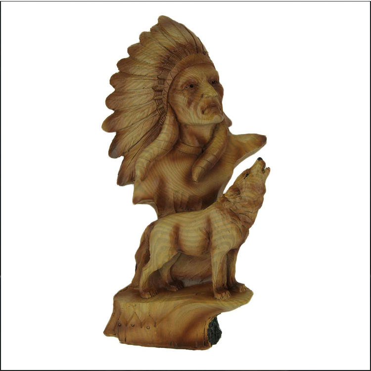Polyresin native american statue howling wolf garden decor figure