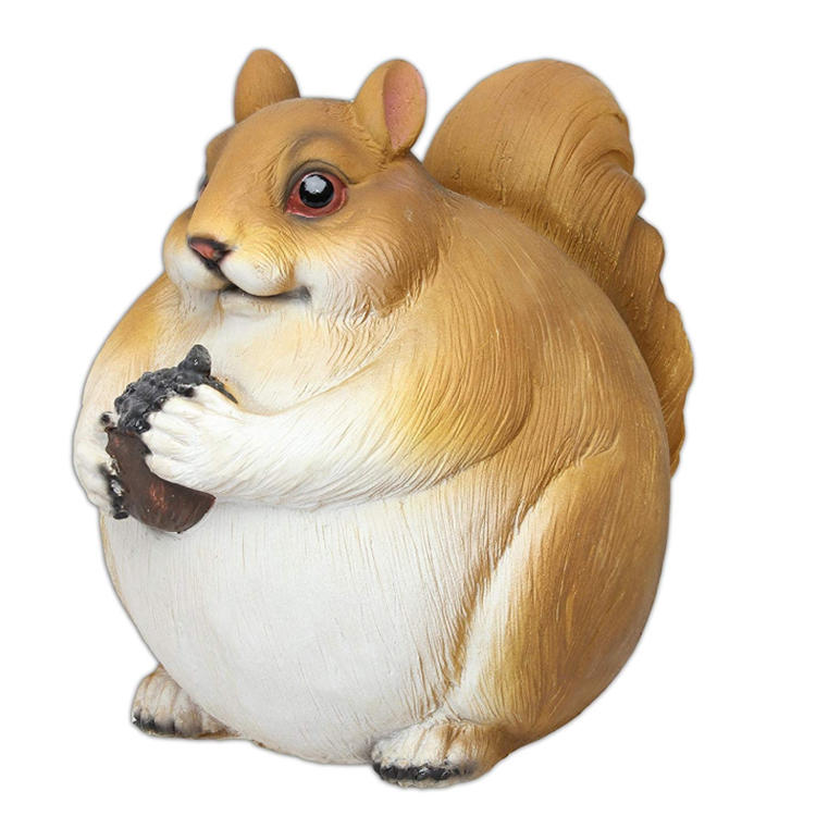 Stuffed squirrel figurine garden statue fatty animal decoration