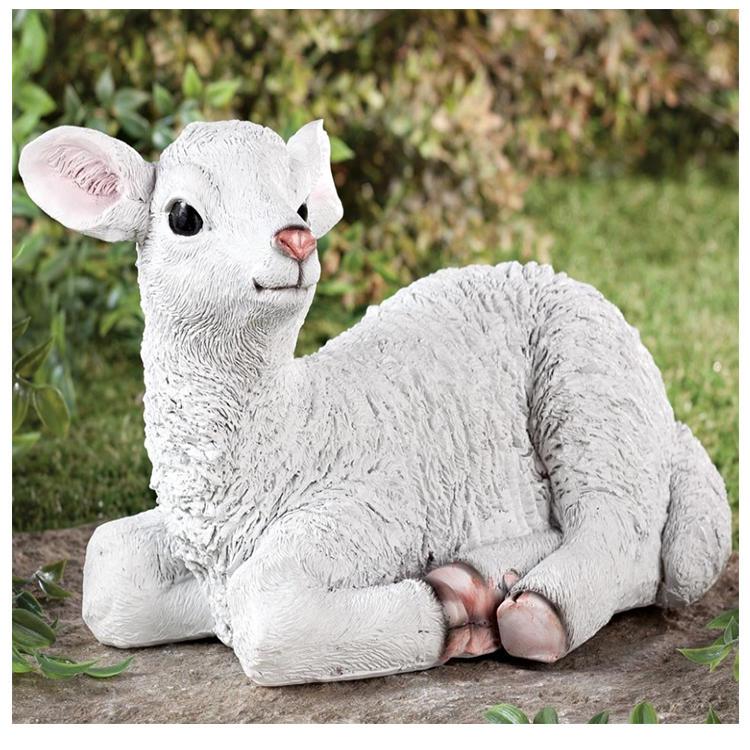 White figurine lamb statue polyresin  goat figurine