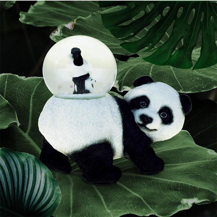 Cute panda snow globe figurine resin animal home decoration pieces