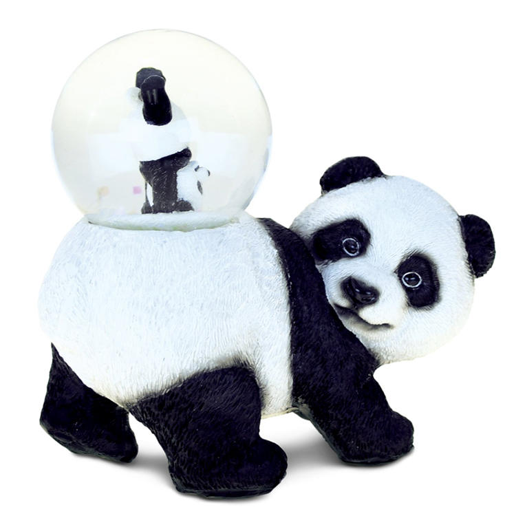 Cute panda snow globe figurine resin animal home decoration pieces