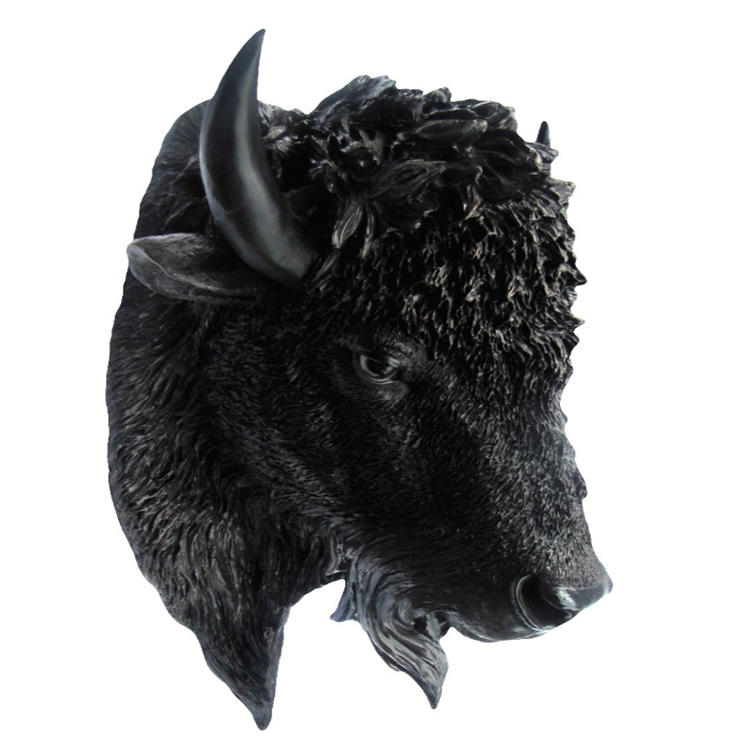 Buffalo figurine animal head wall hook resin statue