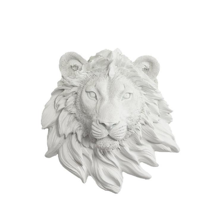Lion head wall decor white lion statue figurine fo home