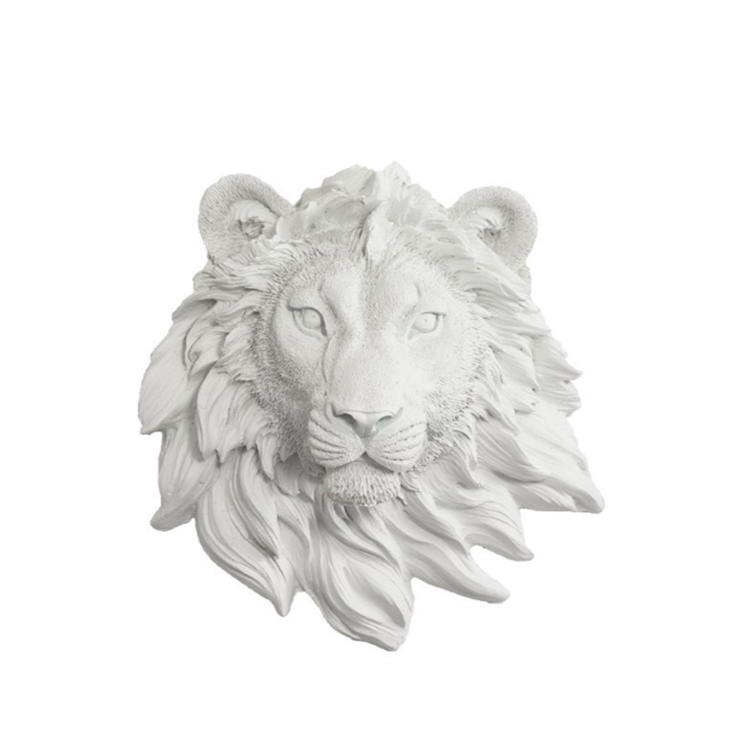Lion head wall decor white lion statue figurine fo home