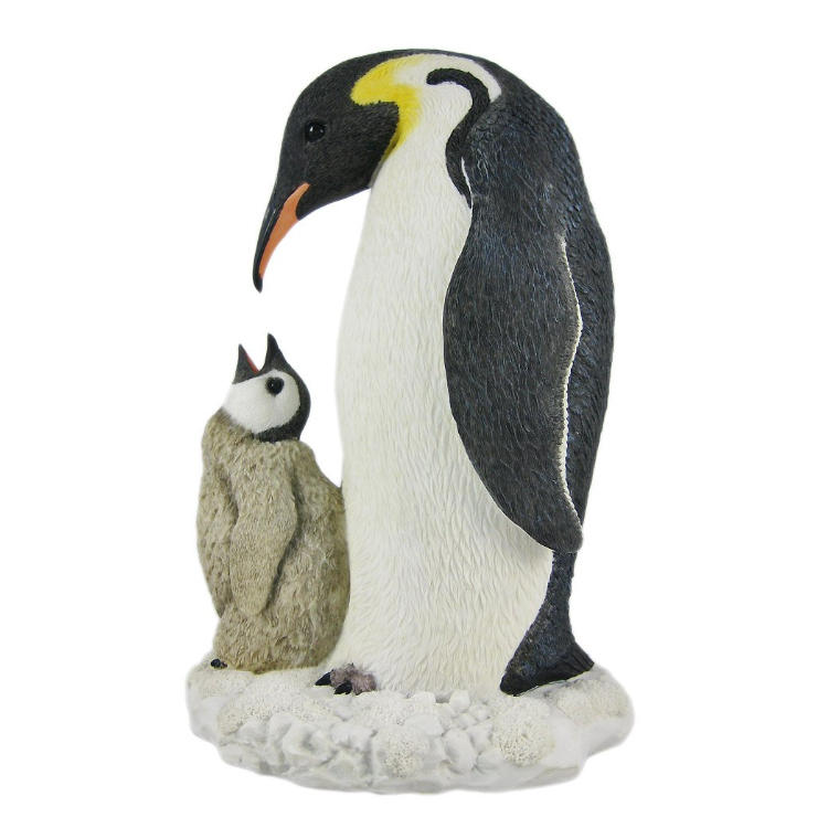 Penguin statue flocked animal figurine resin statue animal