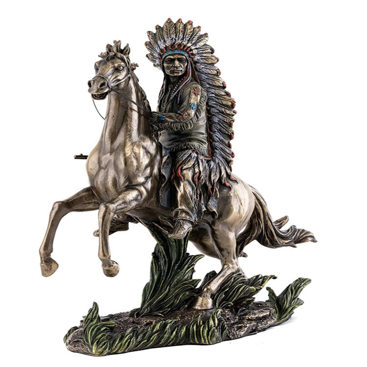 Native american designs figurine chif sitting on horseback statue