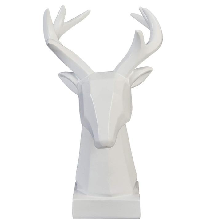 Polyresin stag figurine white statue resin craft