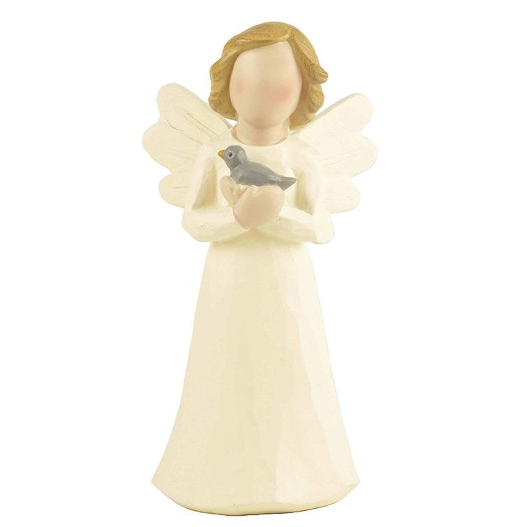 Angel resin figurine holding bird figure garden statue