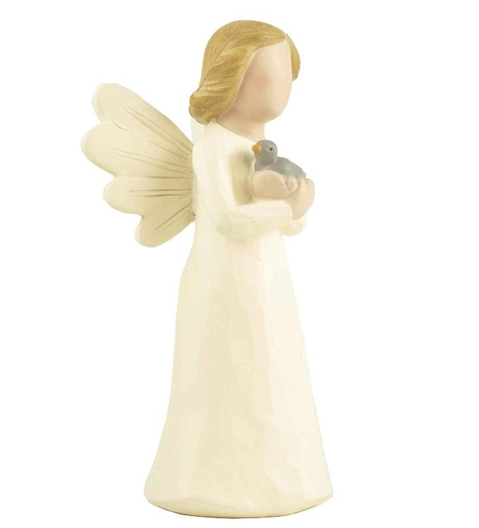 Angel resin figurine holding bird figure garden statue